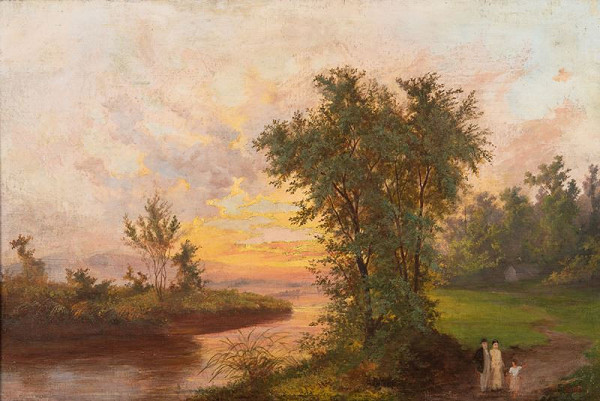 Antonín Waldhauser – Krajina s řekou a západem slunce