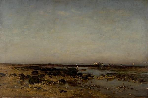 Eugen (Evžen) Jettel - Krajina s močálem a figurální stafáží (Mořské pobřeží u Villerville)