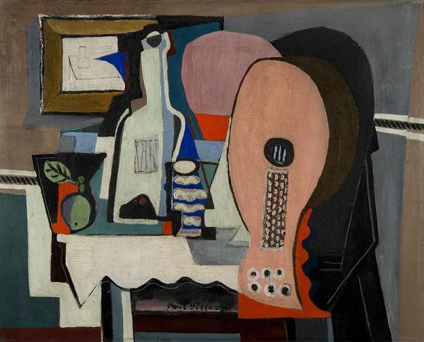 Emil Filla - Zátiší s mandolinou a lahví