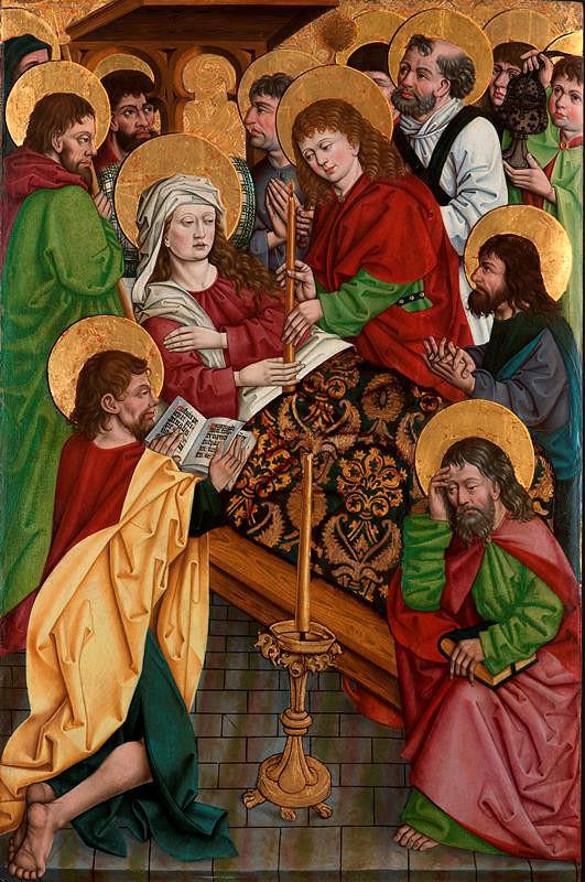 neznámý malíř moravský – Smrt Panny Marie, revers Tupení Krista před ukřižováním