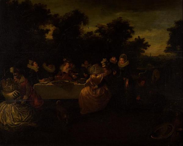 neznámý malíř nizozemský (?) - Společnost u stolu v přírodě