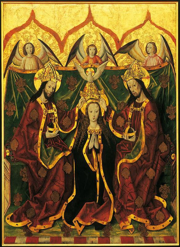neznámý malíř moravský pod vlivem Nizozemí – Korunování Panny Marie z Rybník u Moravského Krumlova