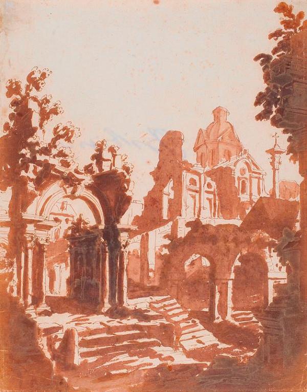 neznámý malíř italský - Zříceniny chrámu