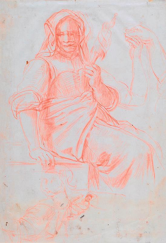 neznámý malíř italský – Přadlena