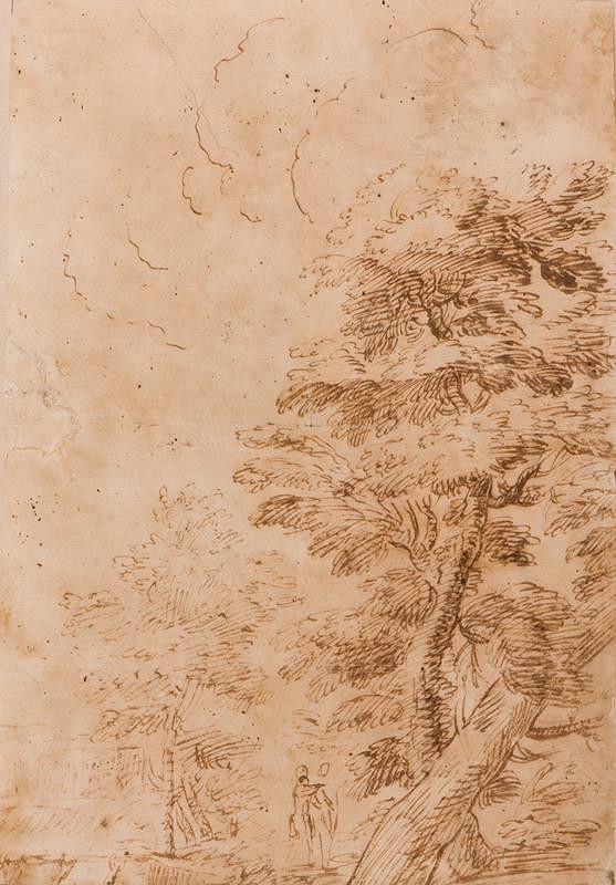 neznámý malíř italský - Krajina se stromy a figurální stafáží