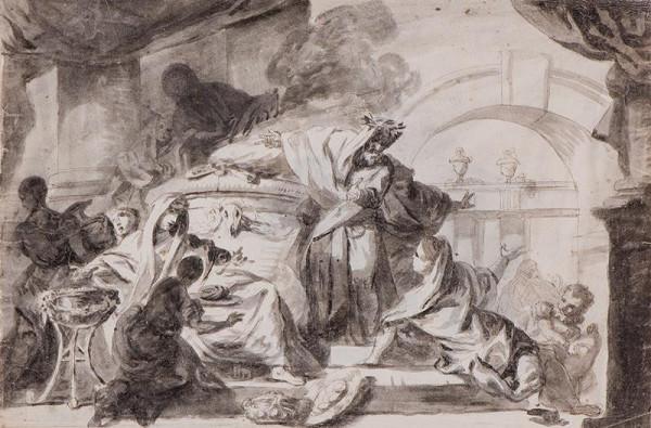 neznámý malíř - Scéna u obětního oltáře