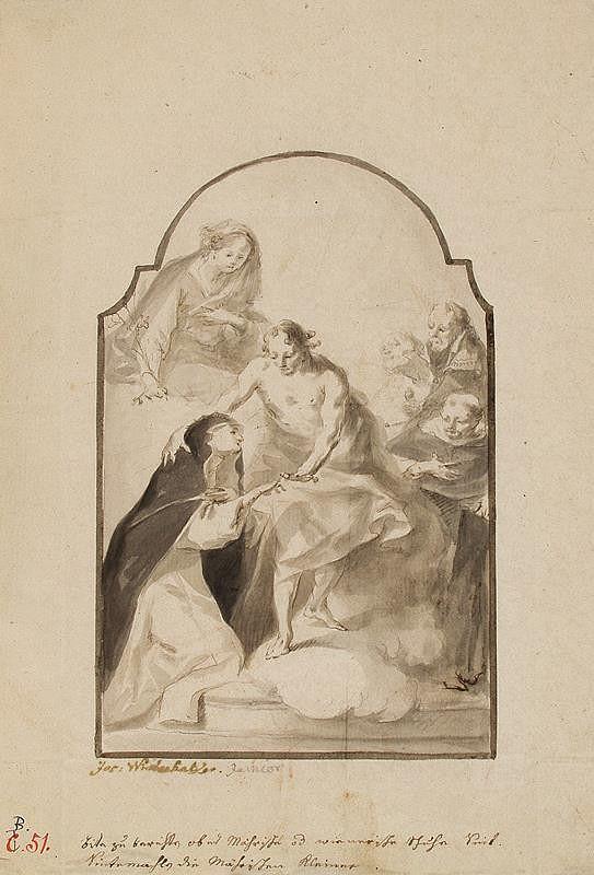 Josef Winterhalder II. (Winterhalter) – Zasnoubení sv. Kateřiny Sienské s P. Marií, sv. Dominikem, sv. Augustinem a neznámým světcem