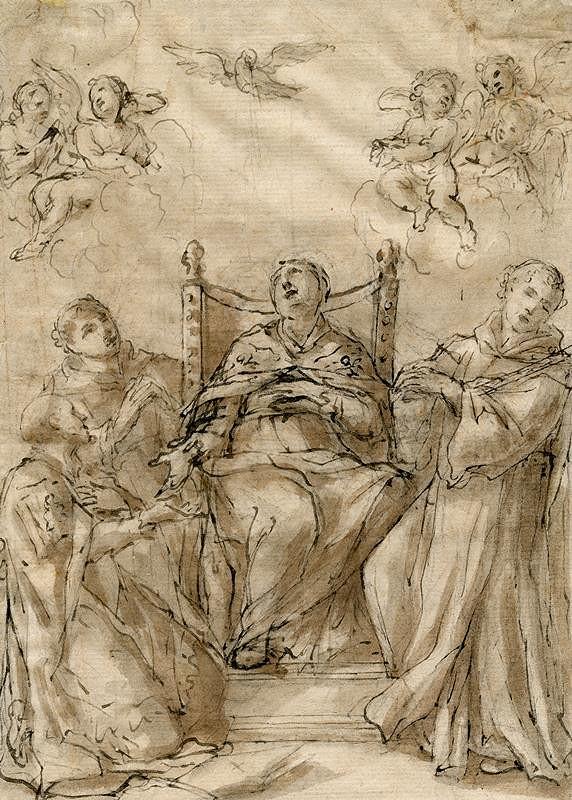neznámý malíř italský - Dva biskupi a dva frantšikáni (kartuziani) ?