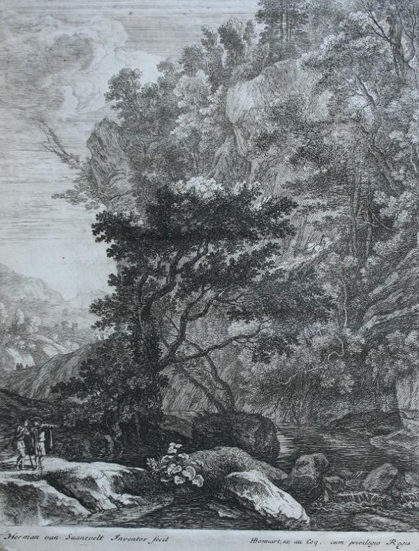 Herman van Swanevelt – Veliká krajina, skály s potokem