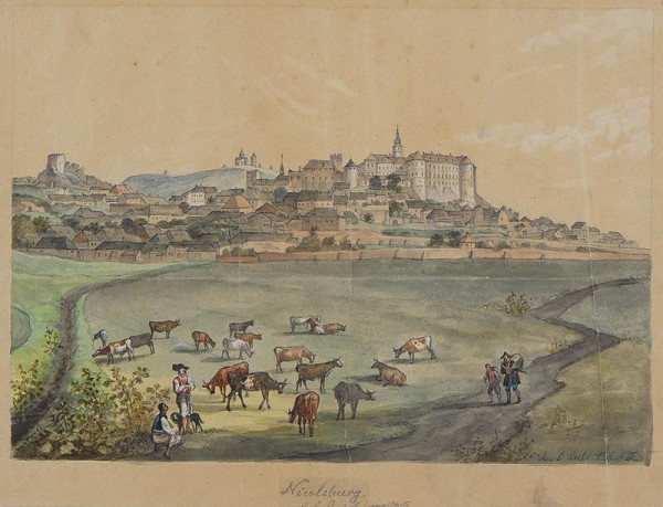 František (Franz) Richter - Mikulov - celkový pohled na město se zámkem