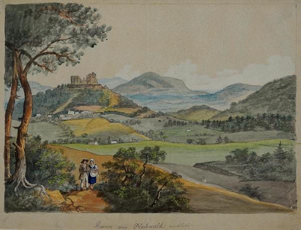 František (Franz) Richter – Hukvaldy. Pohled na zříceninu hradu od západu