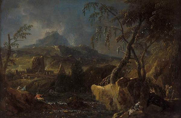 Maximilian Joseph Schinnagl – Horská krajina s říčkou, rybářem a pradlenou