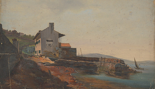 Flóris Ferenc Romer - Prímorská krajina s mólom a domami