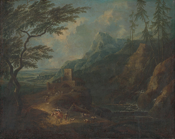 Severotaliansky maliar z 1. polovice 18.storčia, Stredoeurópsky maliar z 1. polovice 18. storočia, Maximilian Joseph Schinnagl – Horská krajina s vodopádom a figurálnou štafážou