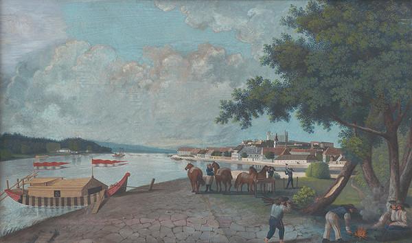 Sebastian Iohann Feitzelmayer – Pohľad na Bratislavu od zimného prístavu