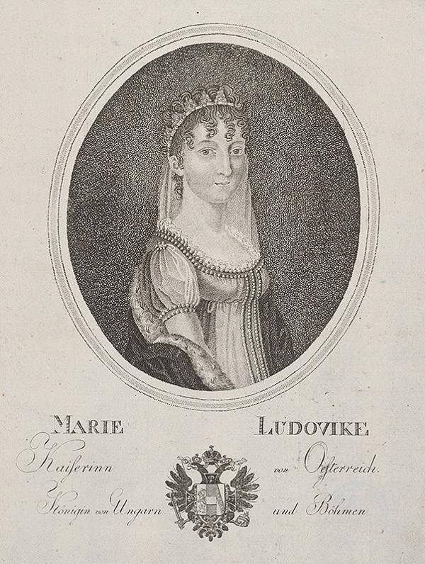 Stredoeurópsky grafik z 19. storočia – Portrét Márie Ludoviky Beatrix von Österreich-Este (1787 - 1816)