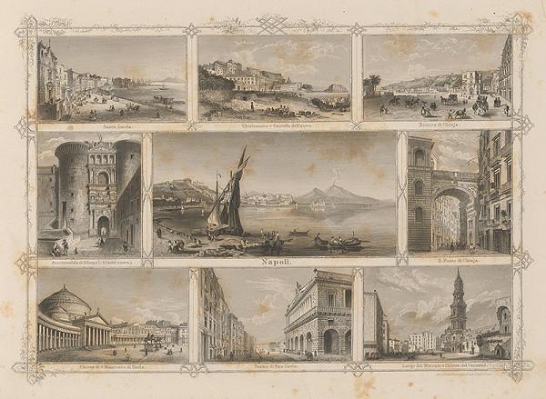 Stredoeurópsky grafik z 19. storočia - Významné budovy v Neapoli