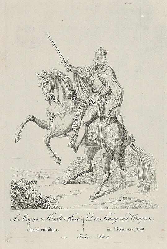 Stredoeurópsky grafik z 18. storočia – Uhorský kráľ František II. v korunovačnom odeve
