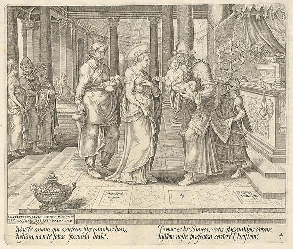 Maerten van Heemskerck, Harmen Jansz Muller, Claes Jansz. Visscher – Blahoslavení, ktorí lačnia a žíznia po spravodlivosti, lebo oni nasýtení budú. Predstavenie v chráme (4)