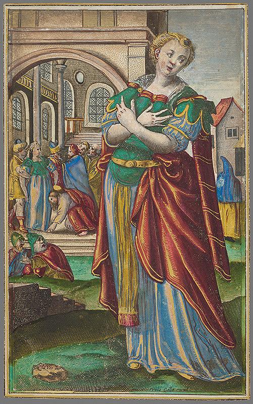 Johannes Collaert, Maarten de Vos st., Carol de Mallery - Žena prichytená pri cudzoložstve (6) Mulier Adultera