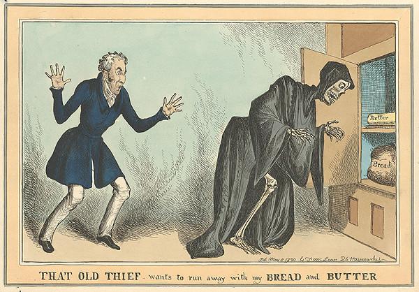 Anglický grafik z 1. polovice 19. storočia - Muž a kostlivec