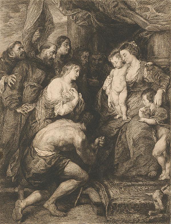 Stredoeurópsky grafik z 18. storočia – Adorácia Panny Márie s Ježiškom a Jánom Krstiteľom