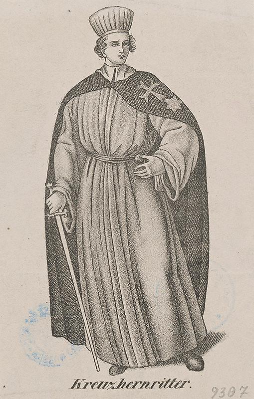 Stredoeurópsky grafik z 19. storočia – Rytier rádu krížovníkov-špitálníkov s červenou hviezdou
