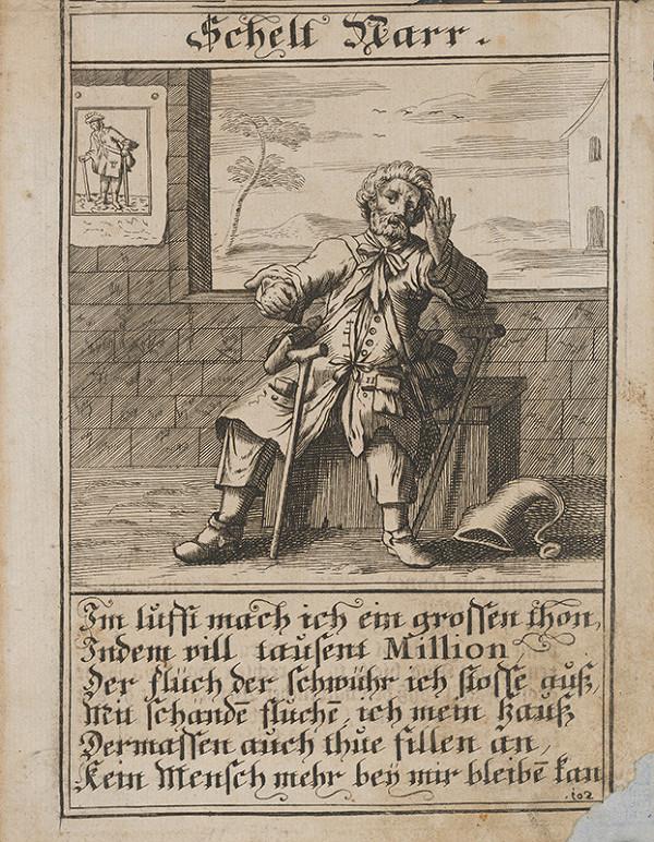 Nemecký grafik z 1. polovice 18. storočia – Škuľavý blázon