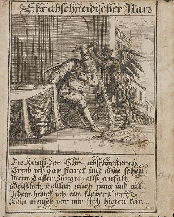Nemecký grafik z 1. polovice 18. storočia – Urážajúci blázon
