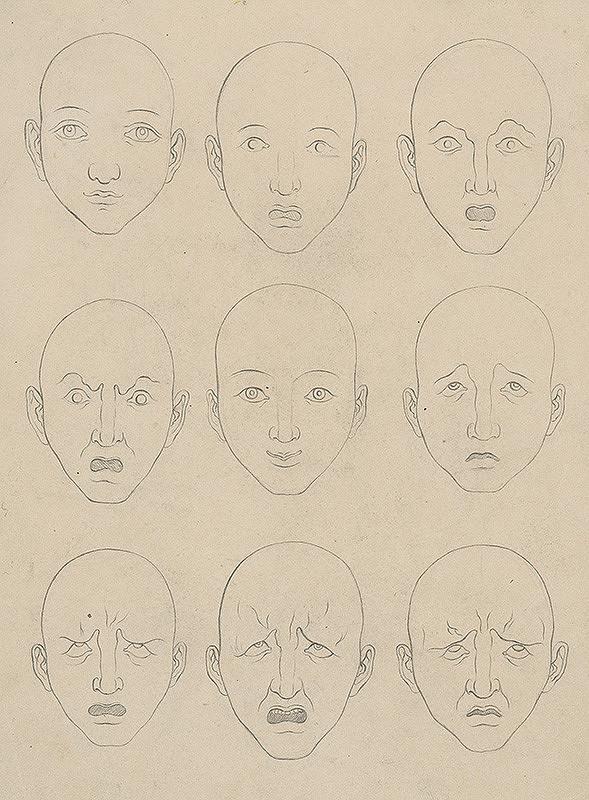Stredoeurópsky grafik z 19. storočia - Štúdia hláv