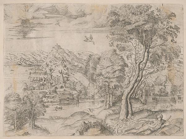 Stredoeurópsky grafik zo 16. storočia - Krajina s mladíkom