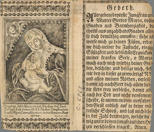 Karl Birkhart – Svätý obrázok s vyobrazením milosrdného obrazu Panny Márie z kostola sv. Josefa v Prahe
