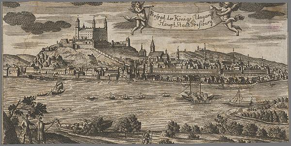 Stredoeurópsky grafik z 18. storočia – Pohľad na Bratislavu