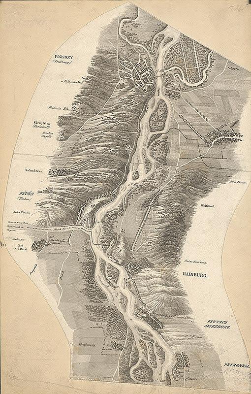 Stredoeurópsky grafik z 19. storočia - Mapa toku Dunaja medzi Bratislavou a Petronellom