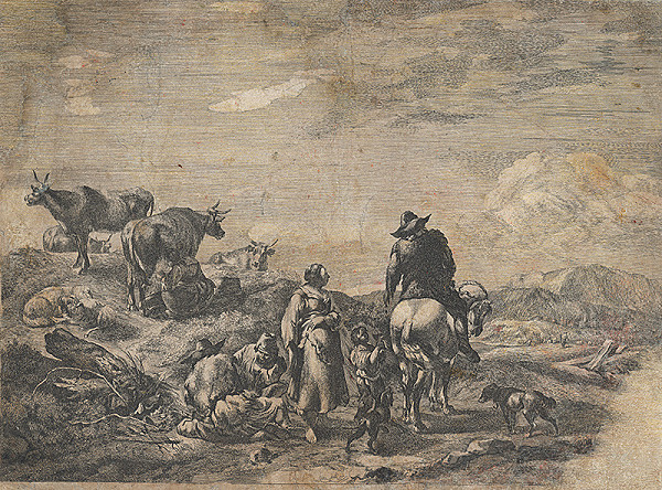 Holandský grafik z 18. storočia – Pastieri so stádom kôz