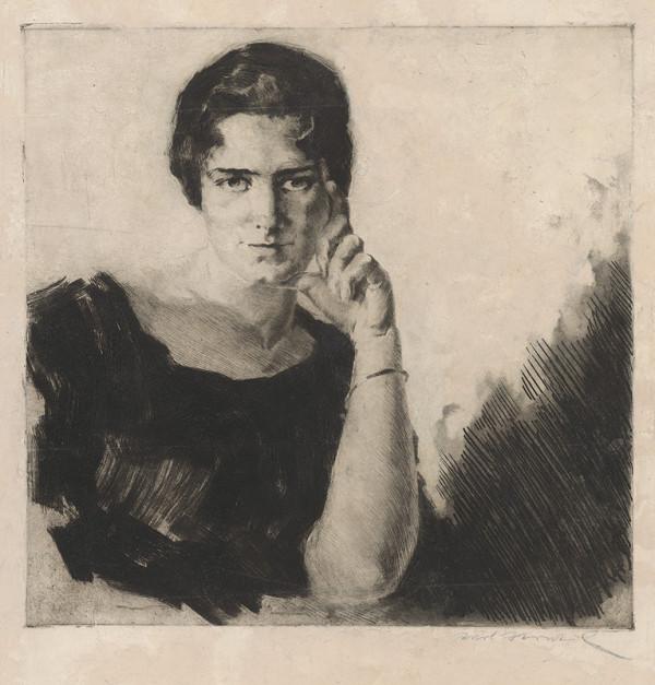 Nemecký grafik – Portrét zamyslenej ženy