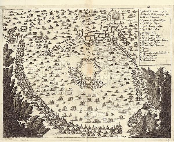 Gaspar Bouttats – Obliehanie Nových Zámkov turkami v septembri 1663
