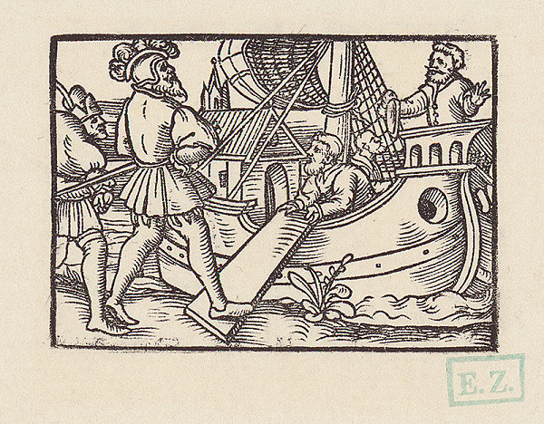 Hans Brosamer – Fortunátus vystupuje na loď