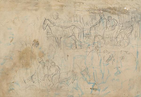 Ladislav Mednyánszky – Štúdia povozu s koňom
