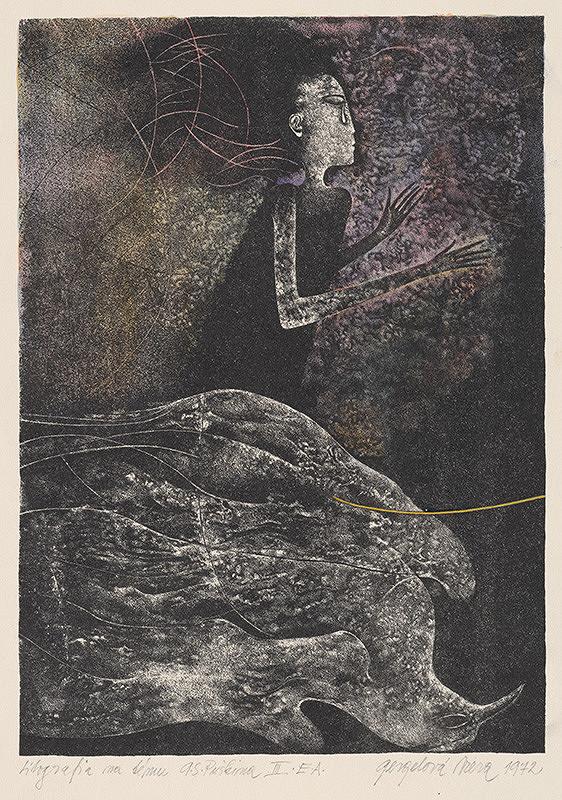 Viera Gergeľová – Litografia na tému A. S. Puškina I.