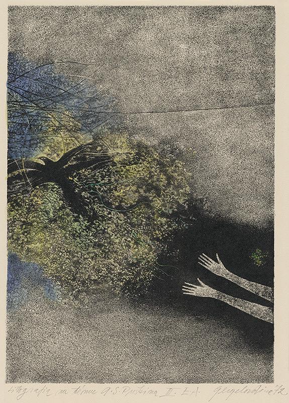 Viera Gergeľová – Litografia na tému A. S. Puškina II.