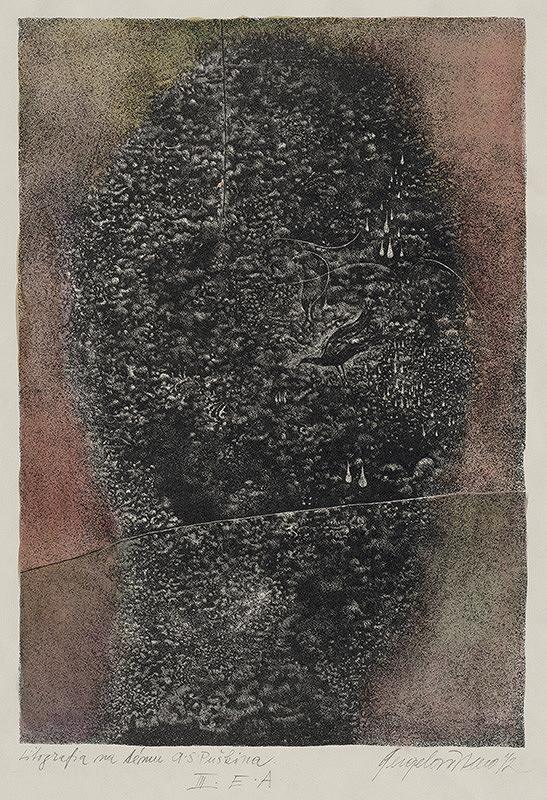 Viera Gergeľová – Litografia na tému A. S. Puškina VI.