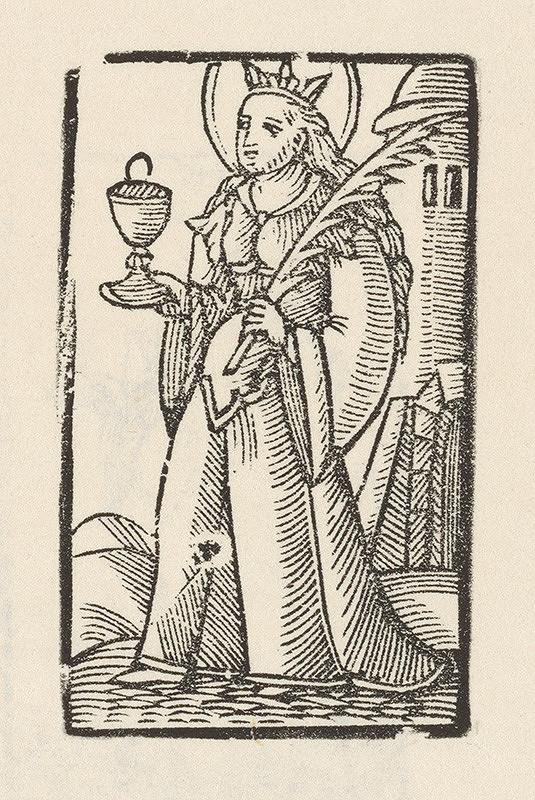 Moravský grafik zo začiatku 17. storočia - Sv. Barbora