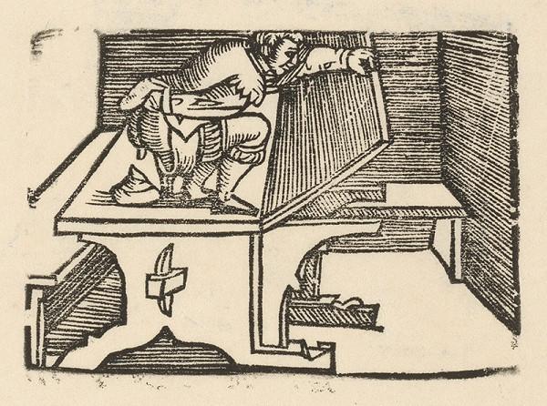 Nemecký grafik z polovice 16. storočia - Enšpígl znečisťuje stôl