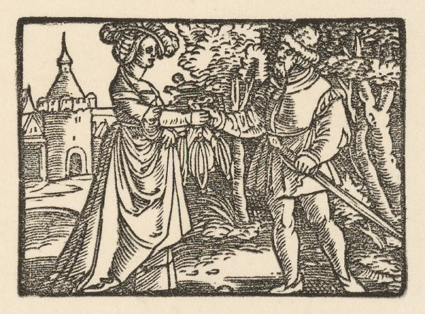 Nemecký grafik z 1. polovice 16. storočia – Fortúna odovzdáva Fortunátovi čarodejné vrecúško