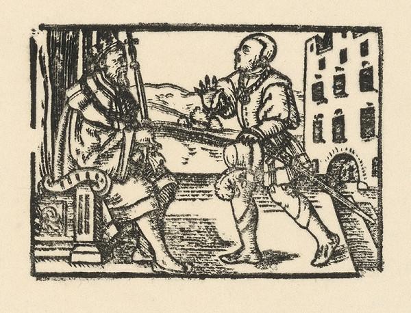 Nemecký grafik z 2. polovice 16. storočia – Rytier prináša správu cisárovi