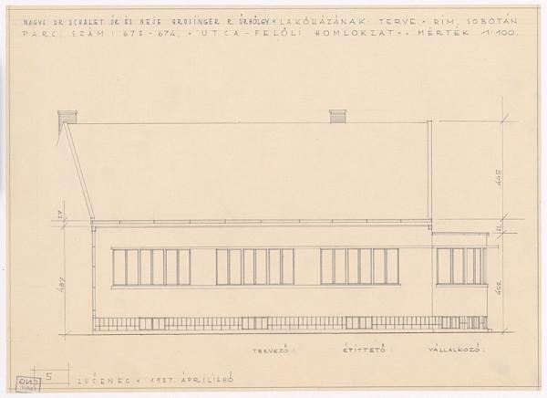 Oskár Winkler - Rodinný dom Dr. Schaleta v Rimavskej Sobote. Uličný pohľad. M 1:100.