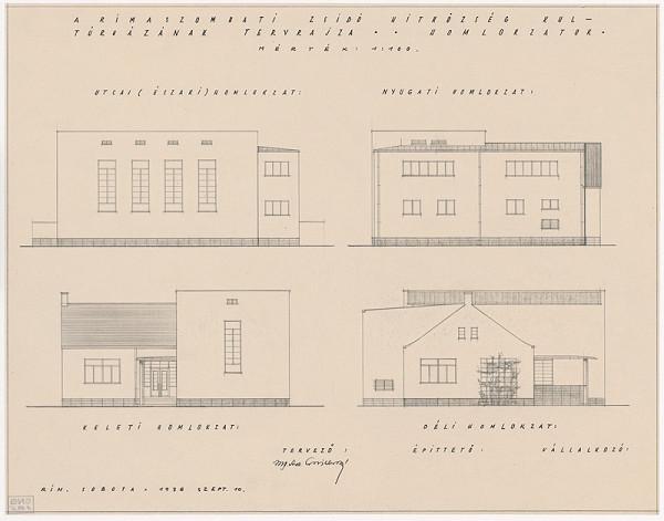 Oskár Winkler - Kultúrny dom židovskej náboženskej obce v Rimavskej Sobote. Pohľady. M 1:100.
