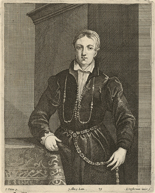 Titian, Lucas Vorsterman ml., David Teniers ml. - Portrét ženy podľa Titiana