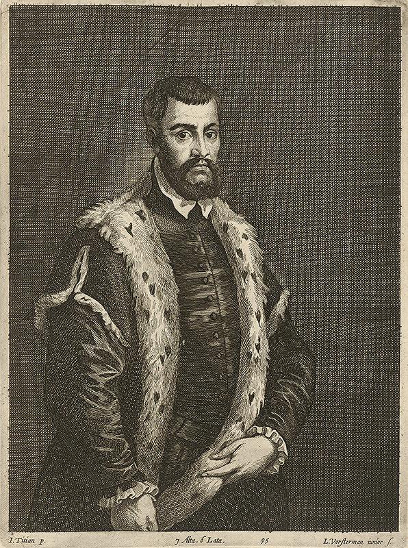Titian, Lucas Vorsterman ml., David Teniers ml. - Portrét muža s hermelínovou kožušinou podľa Titiana